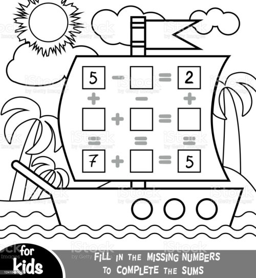 small resolution of Counting Game For Preschool Children Addition And Subtraction Worksheets In  The Background Of The Ship Educational A Mathematical Game Stock  Illustration - Download Image Now - iStock