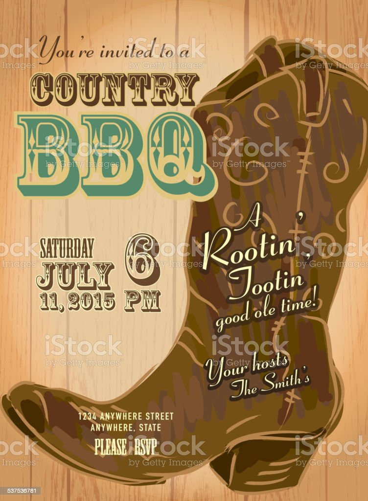 Country And Western Bbq With Cowboy Boot Invitation Design Template Stock Vector Art More