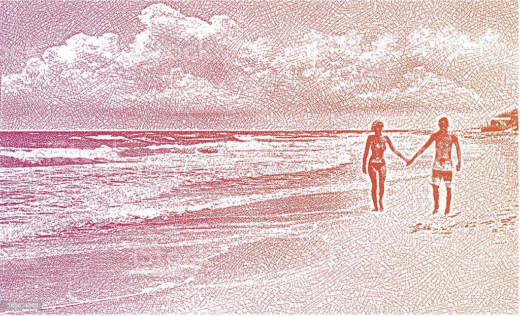 couple walking beach sunset