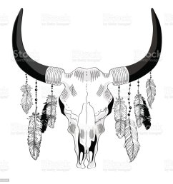 cowskull with feathers illustration  [ 1024 x 1024 Pixel ]