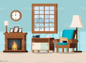 cozy background living fireplace interior vector illustration backgrounds apartment