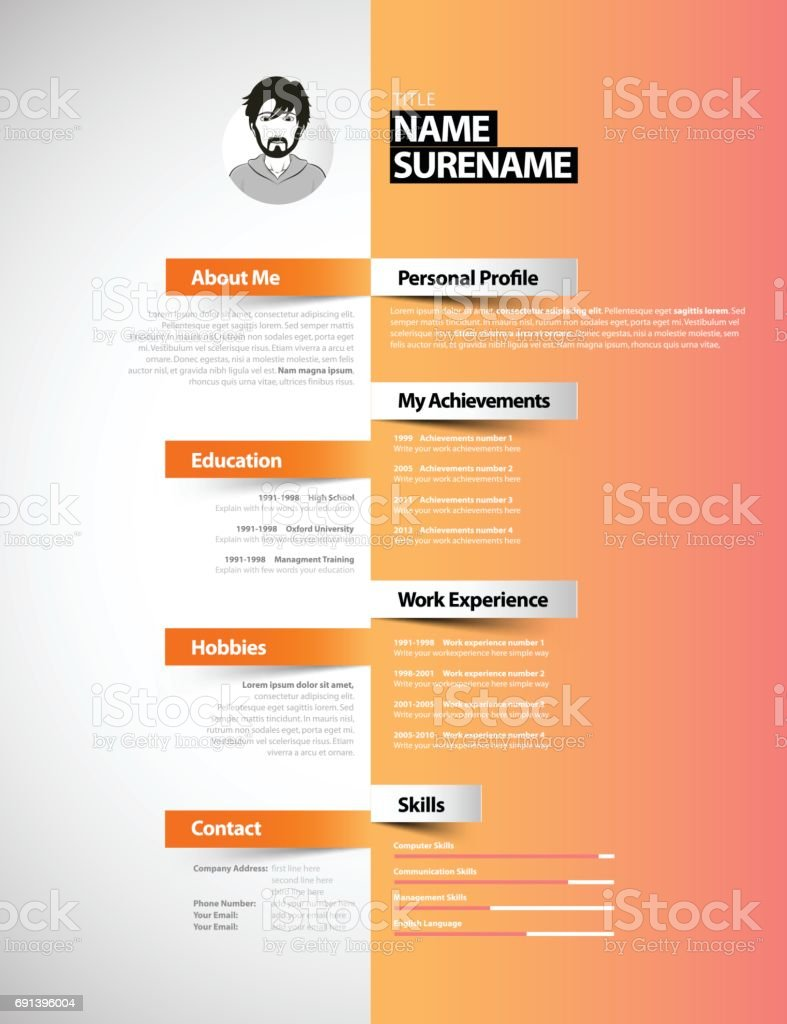 Creative Cv Resume Template Stock Vector Art More Images Of