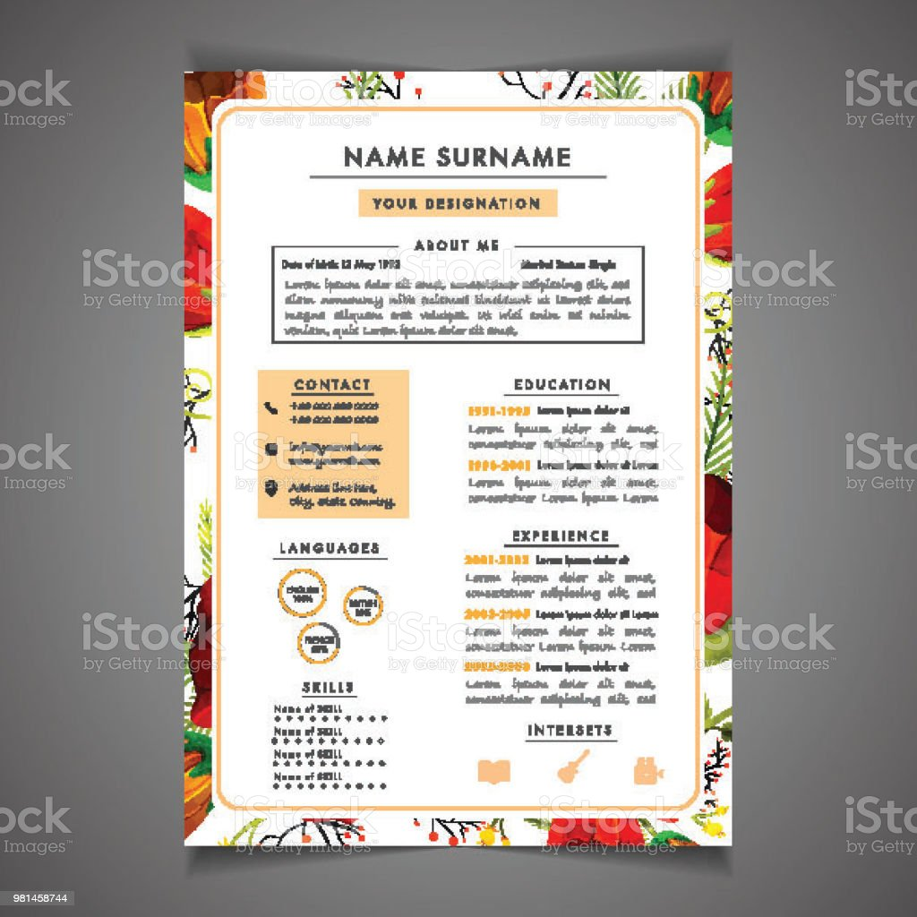 Creative Field, Resume Template Can Be Use As Letterhead Or Cover Letter.  Professional Cv