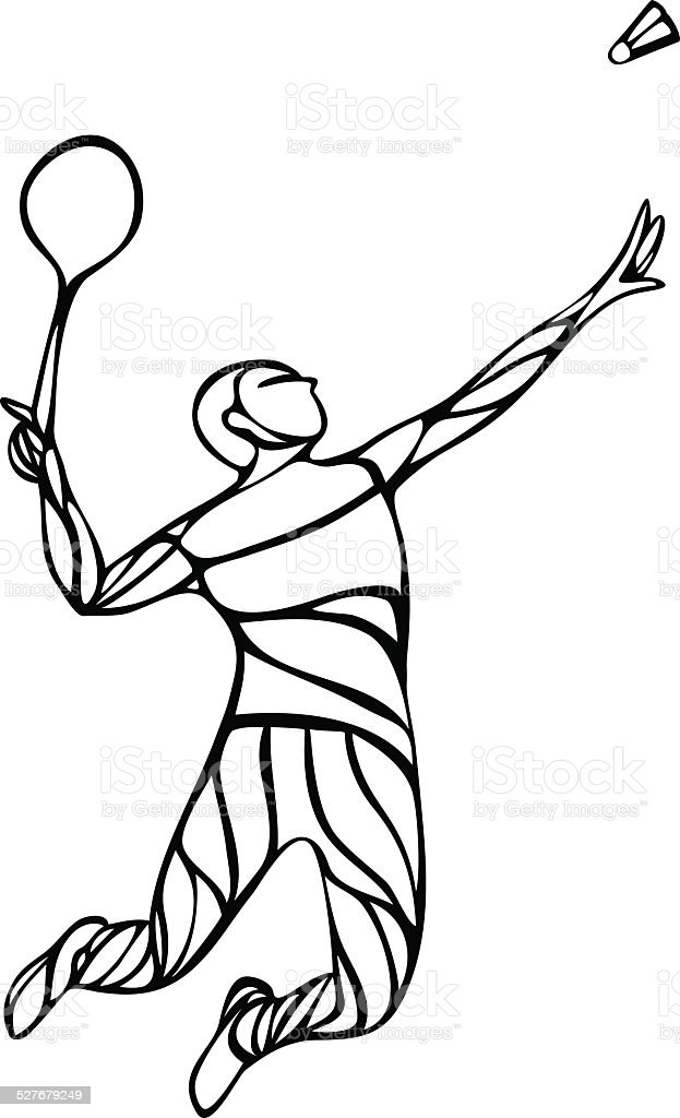 Creative Outline Silhouette Of A Badminton Player stock