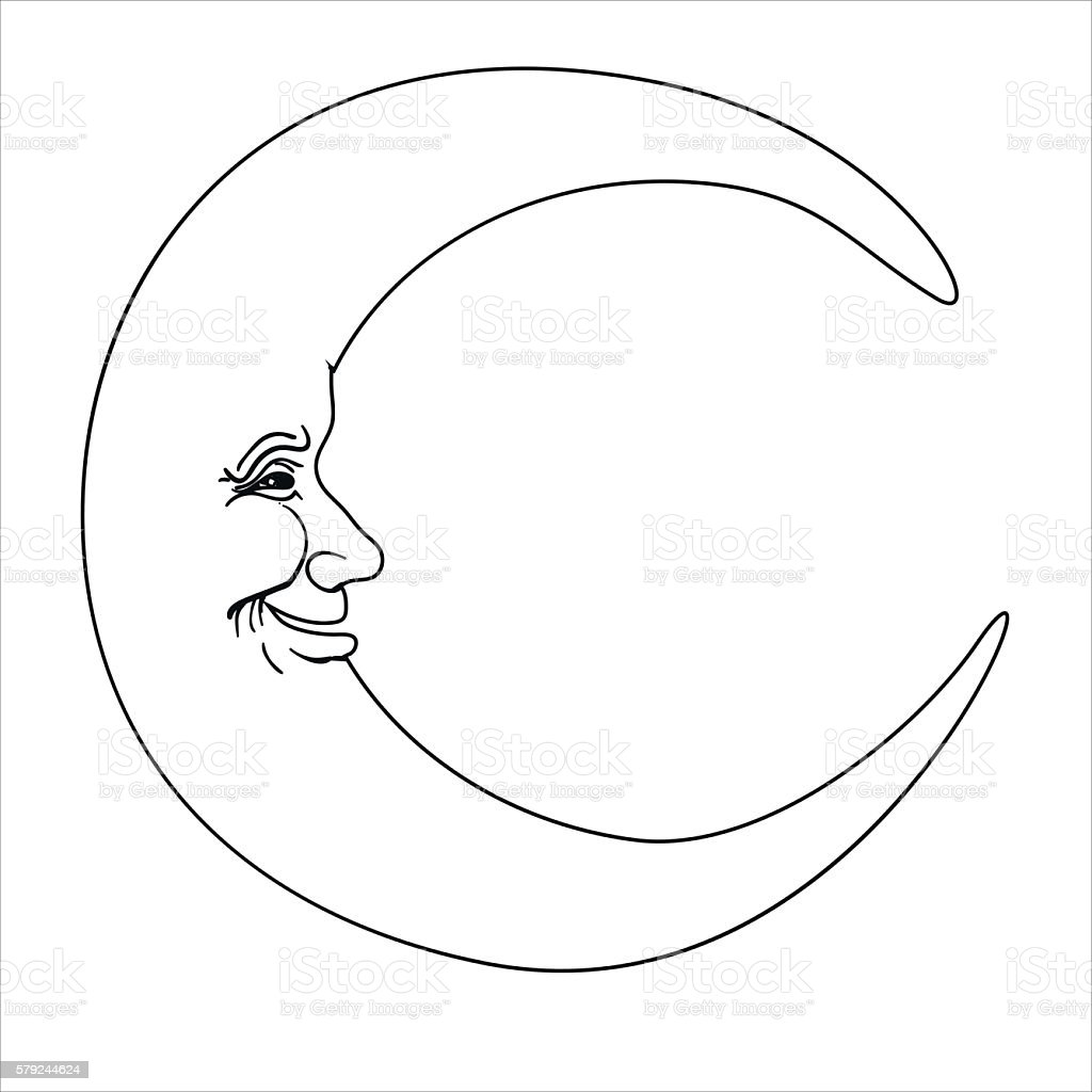 Crescent Moon With Human Face Simple Hand Drawn Vector