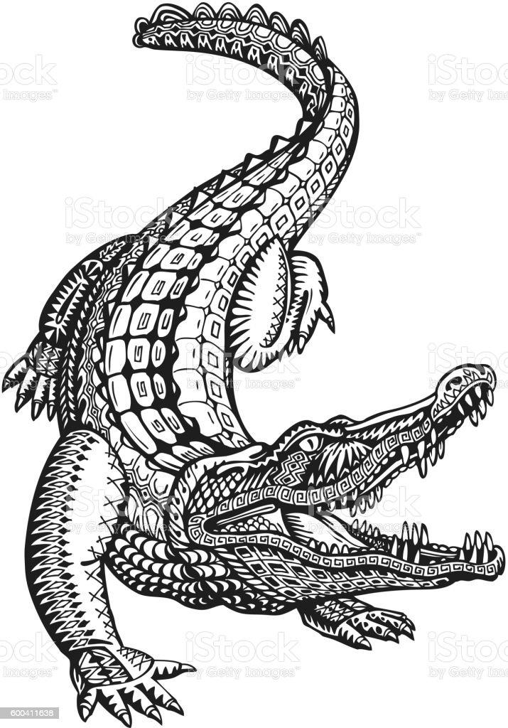 Crocodile Alligator Or Animal Painted Tribal Ethnic