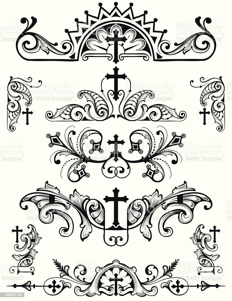 Cross Ornament Set Christian Religion Symbols Stock