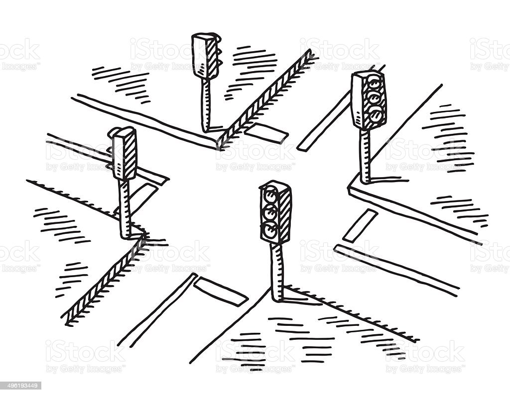 Crossroads Traffic Lights Drawing Stock Vector Art & More