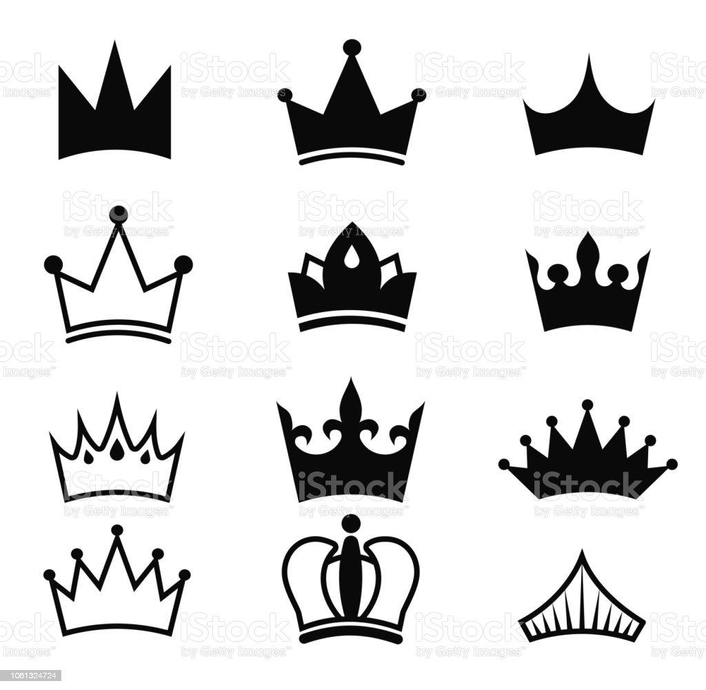 Krone Vektor Schwarz Eingestellt König Silhouette Isoliert