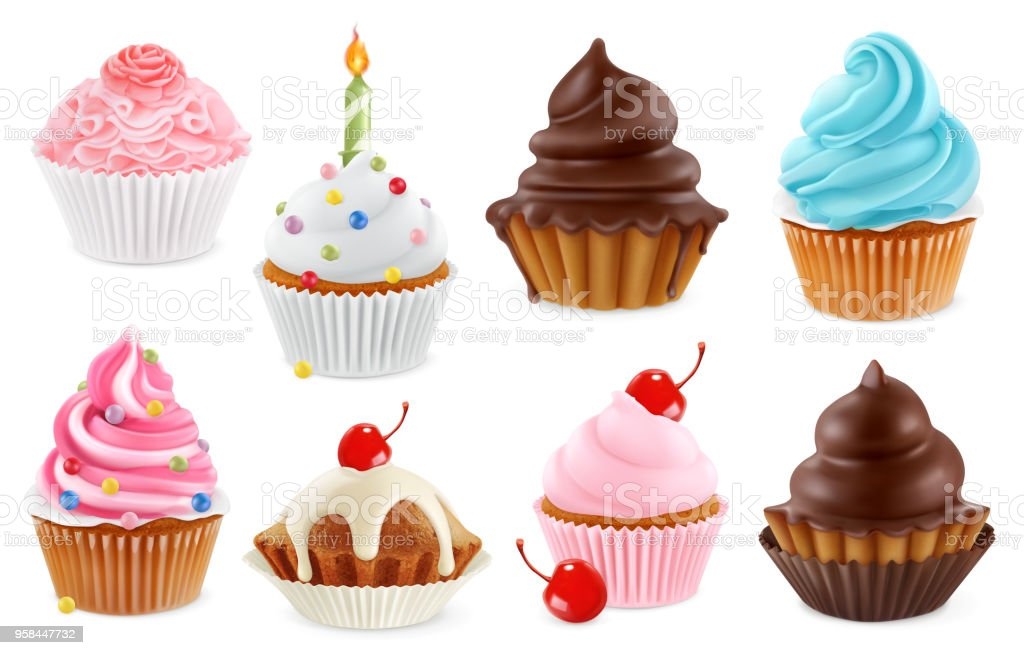 Cupcake Fairy Cake 3d Realistic Vector Icon Set Stock