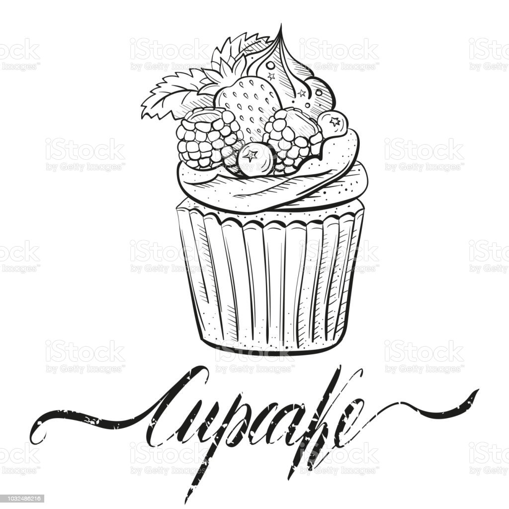hight resolution of cupcake with berries cream and mint sweet beautiful dessert clipart for a restaurant