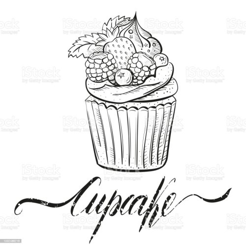 small resolution of cupcake with berries cream and mint sweet beautiful dessert clipart for a restaurant