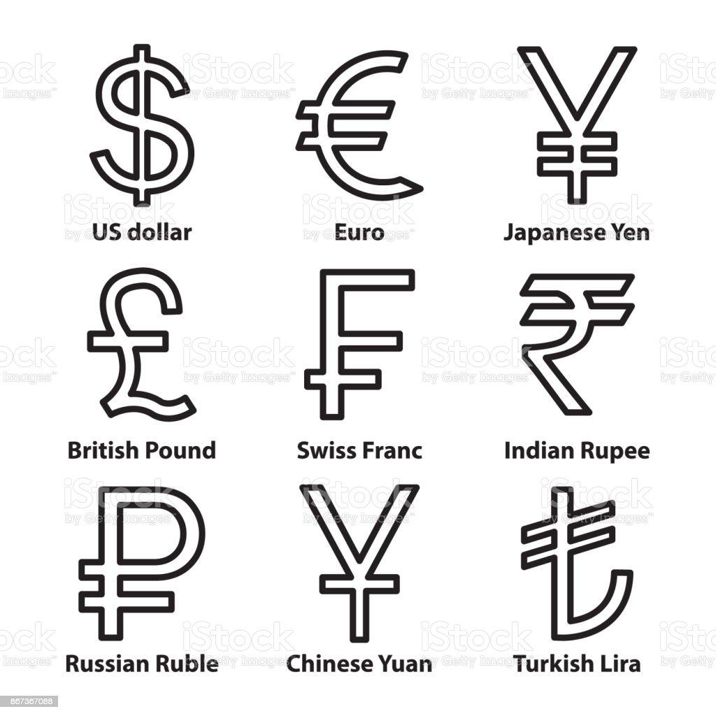 貨幣符號細線圖示設置向量向量圖形及更多一組物體圖片 - iStock