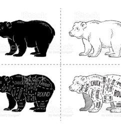 cut of bear set poster butcher diagram bear vintage typographic hand drawn [ 1024 x 830 Pixel ]