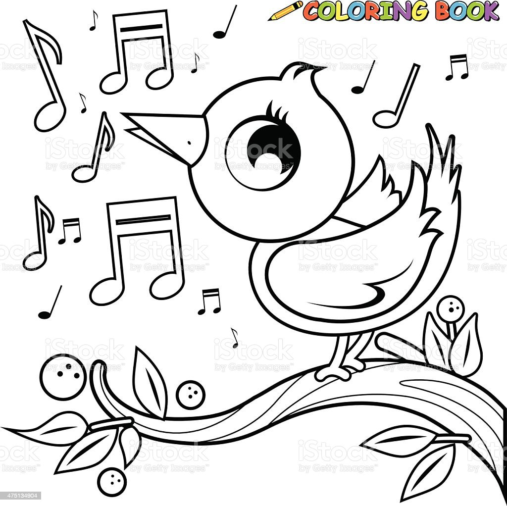Cute Bird On Branch Singing Coloring Book Page Stock