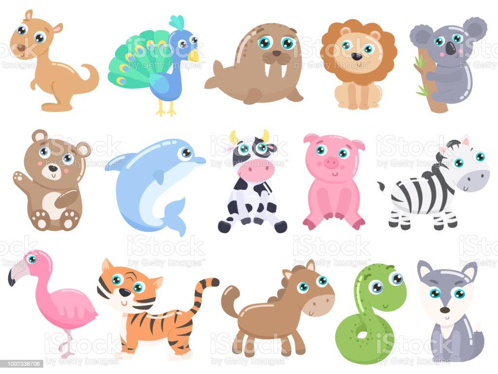 可愛的卡通動物集向量圖形及更多一組物體圖片 - iStock