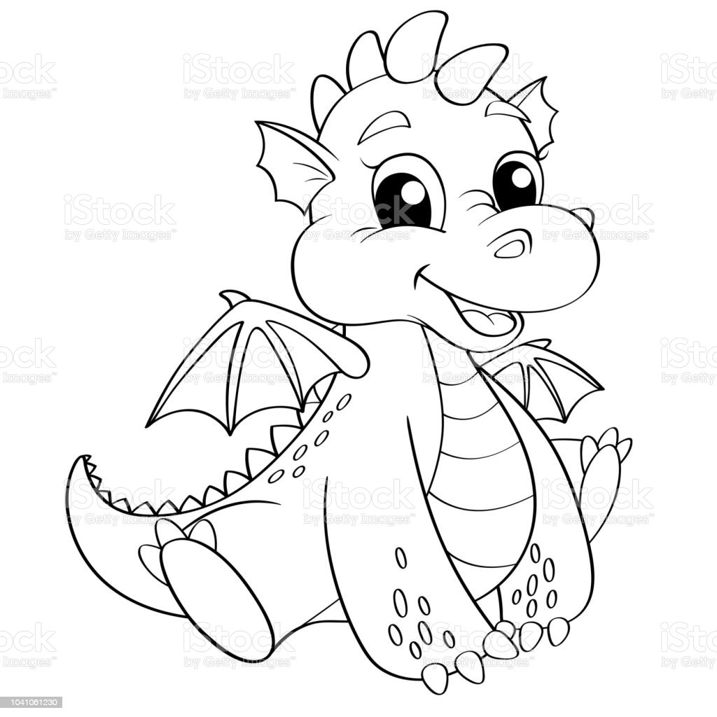 Dragon Dessin Animé Mignon Illustration Vectorielle Noir