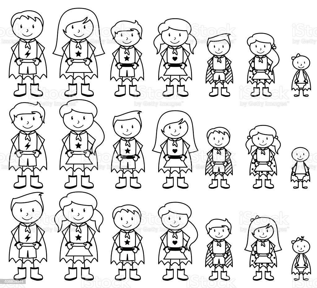 Cute Collection Of Diverse Stick Figure Superheroes Or