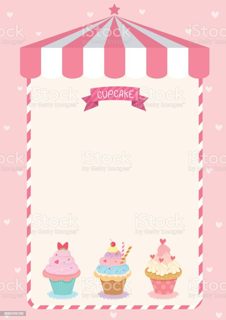 Cute Cupcake Menu Template On Pink Cafe Background Stock
