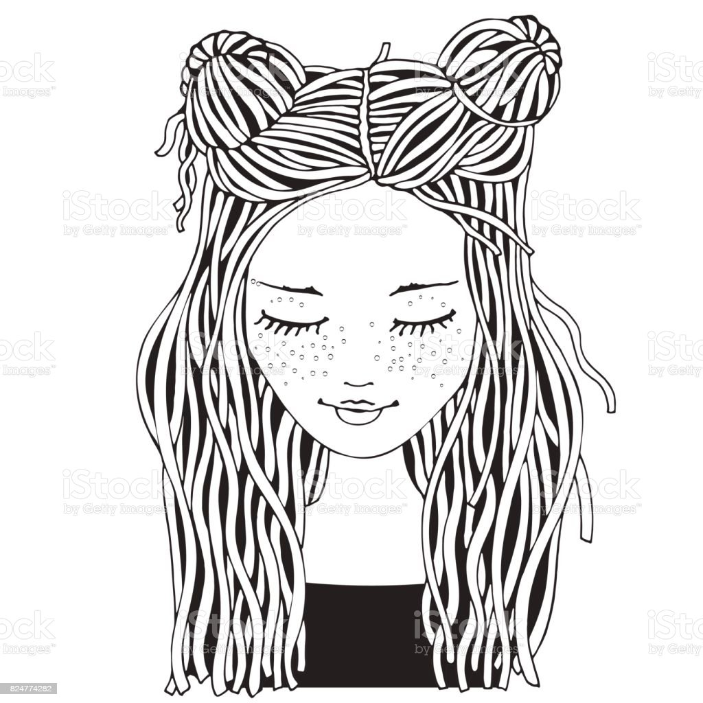 Cute Girl Coloring Book Page For Adult And Children Black