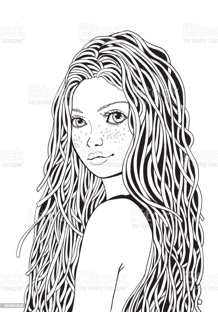 Cute Girl Coloring Book Page For Adult Black And White