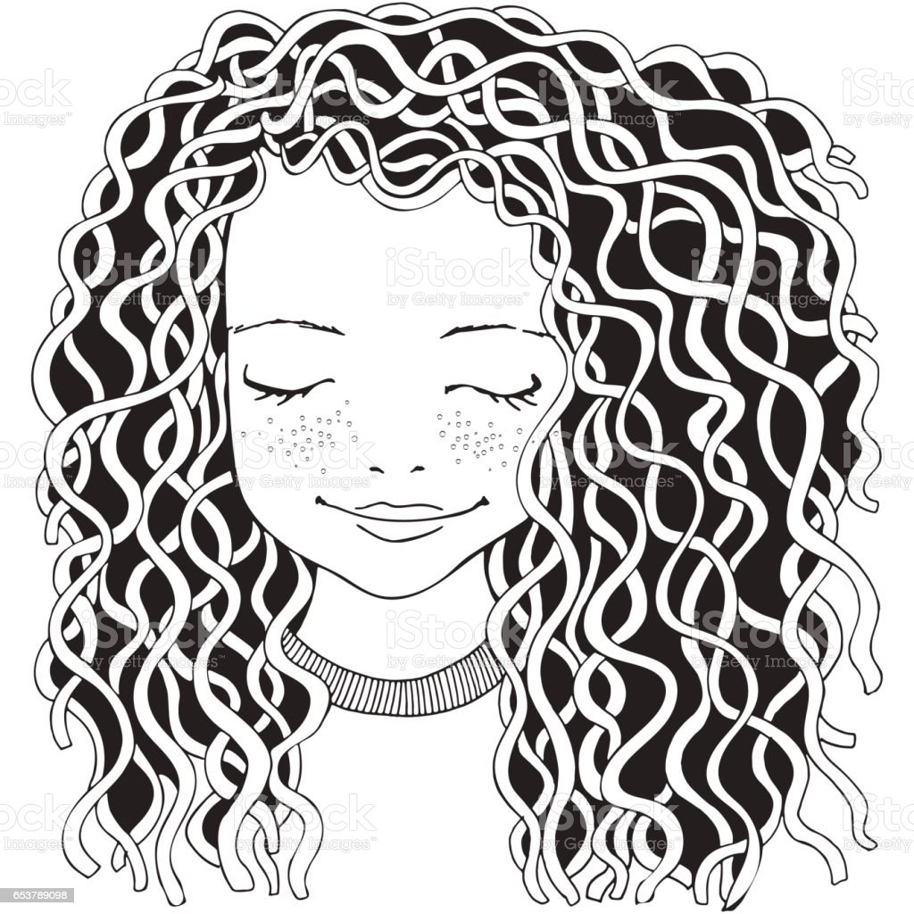 curly hair girl illustrations