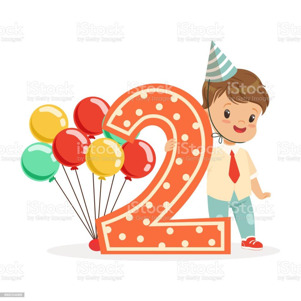 Cute Happy Baby Boy Celebrating His Second Birthday Colorful Cartoon