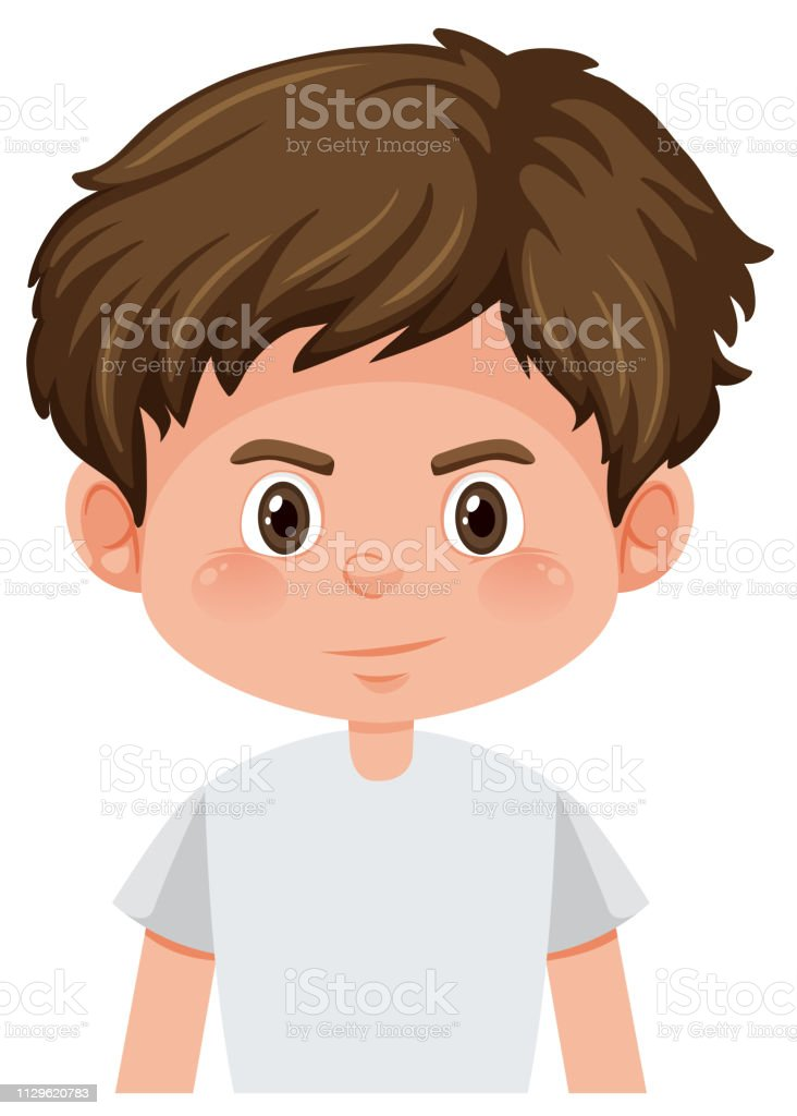 cartoon of cute boy brown