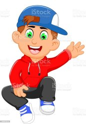 boy cartoon cute waving illustration boys animal vector baby human age