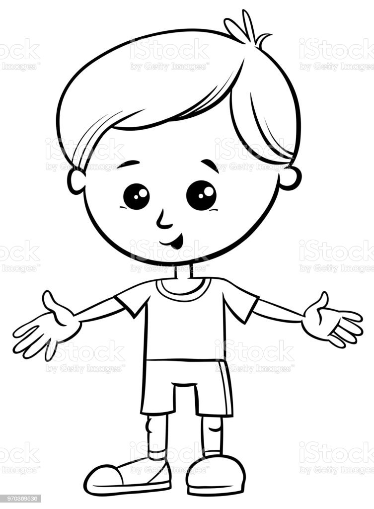 Cute Little Boy Character Coloring Book Stock Illustration