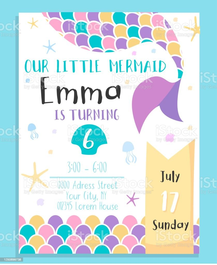 cute mermaid birthday costume party invitation stock illustration download image now istock