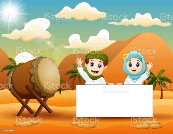 cute muslim kid holding blank sign
