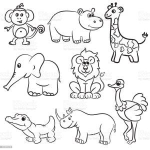 zoo animals outlined animal illustration vector alligator giraffe chimpanzee leopard elephant