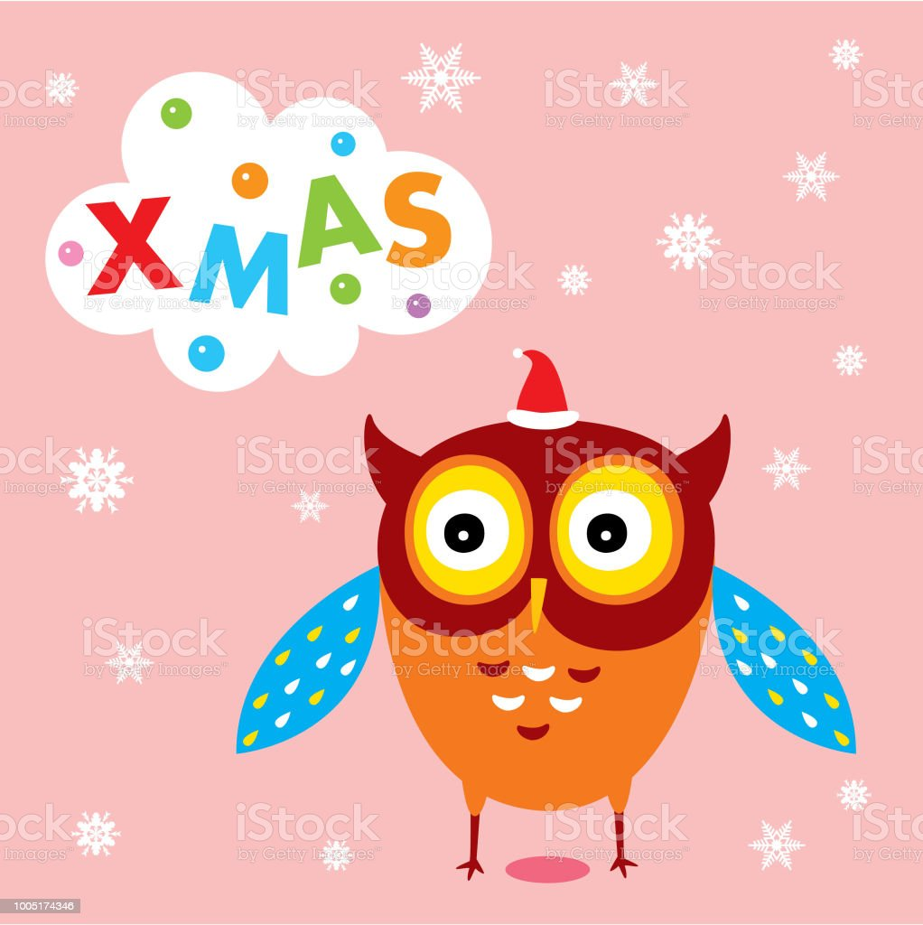 Cute Owl Decor Cute Owl Merry Christmas Greeting Card Vector Stock Vector Art