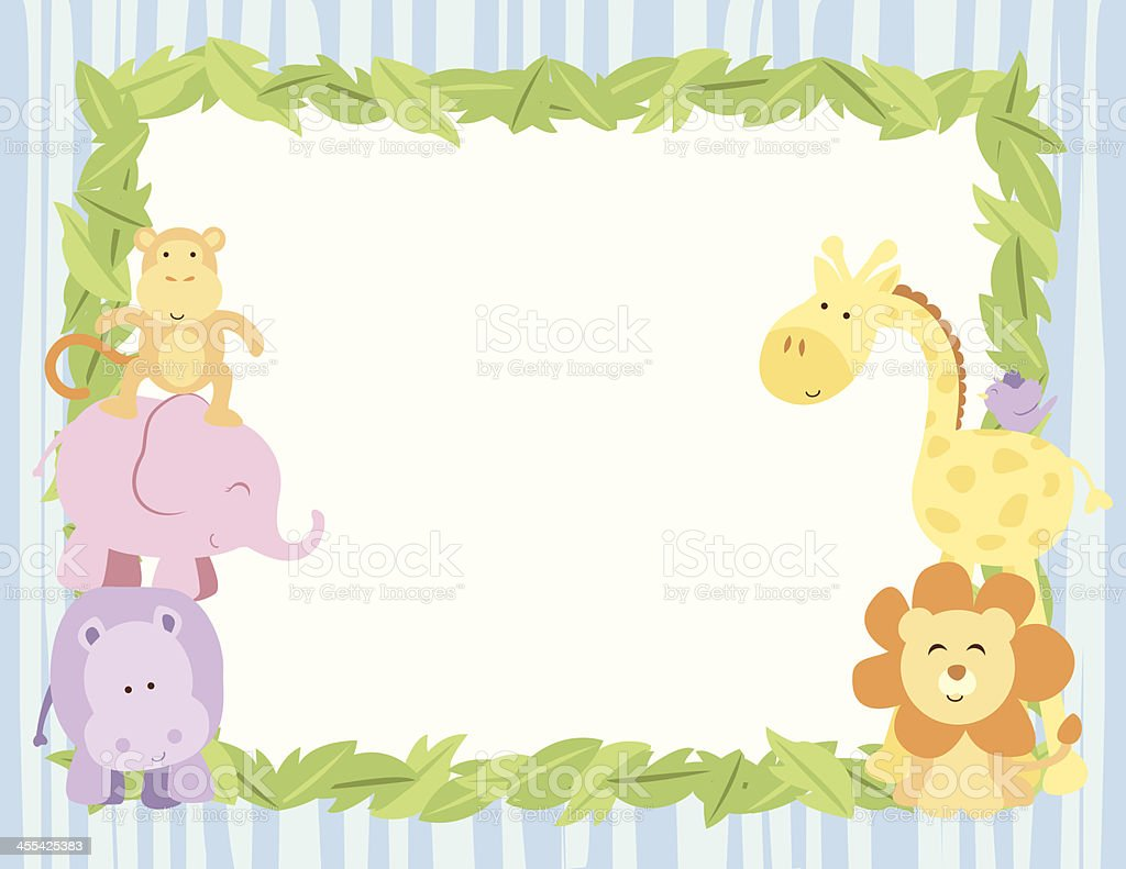 Cute Safari Animals Card With Leaves Border Stock Vector