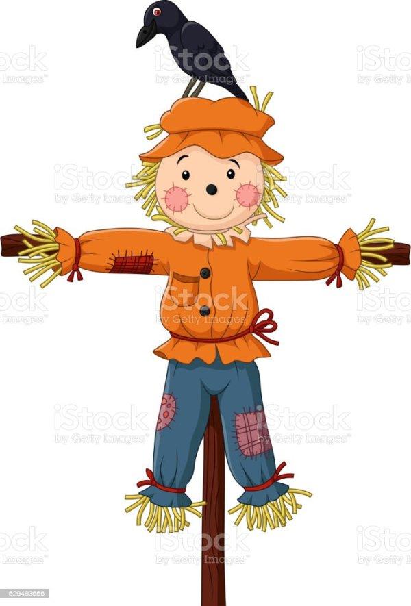 cute scarecrow cartoon stock vector