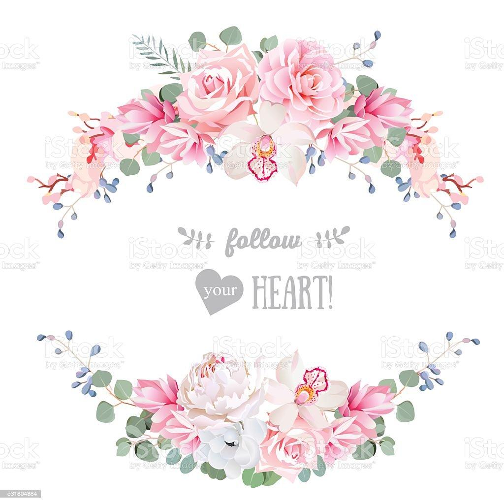 Cute Wedding Floral Vector Design Frame Floral Banner