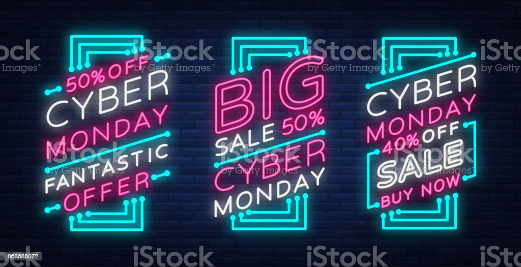 Cyber Monday A Set Of Banners Collection In A Trendy Neon