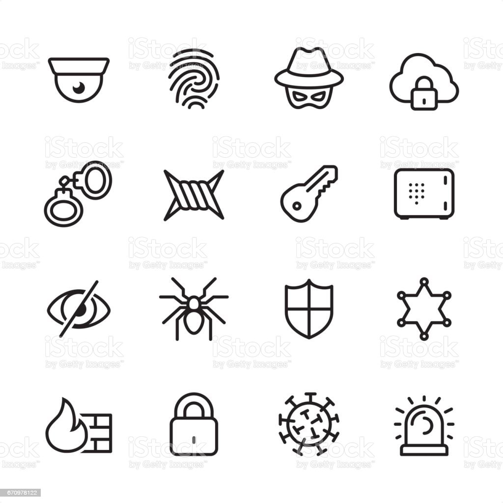Cybersecurity Outline Icon Set Stock Illustration