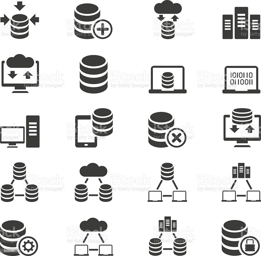 Database Icon Set Stock Vector Art & More Images of