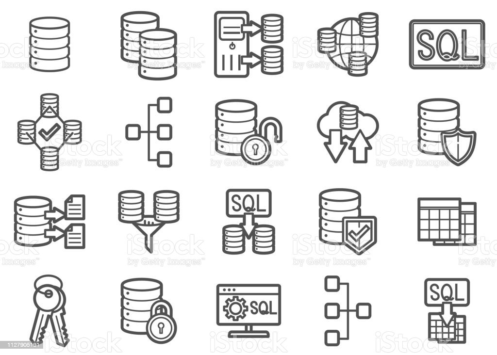Database Management Clip Art Vector And Line Icons Set
