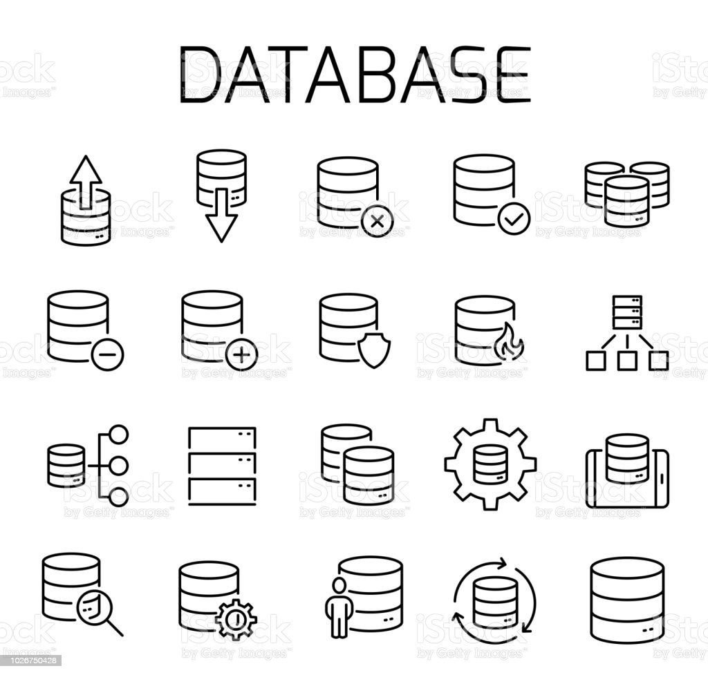Database Related Vector Icon Set Stock Illustration