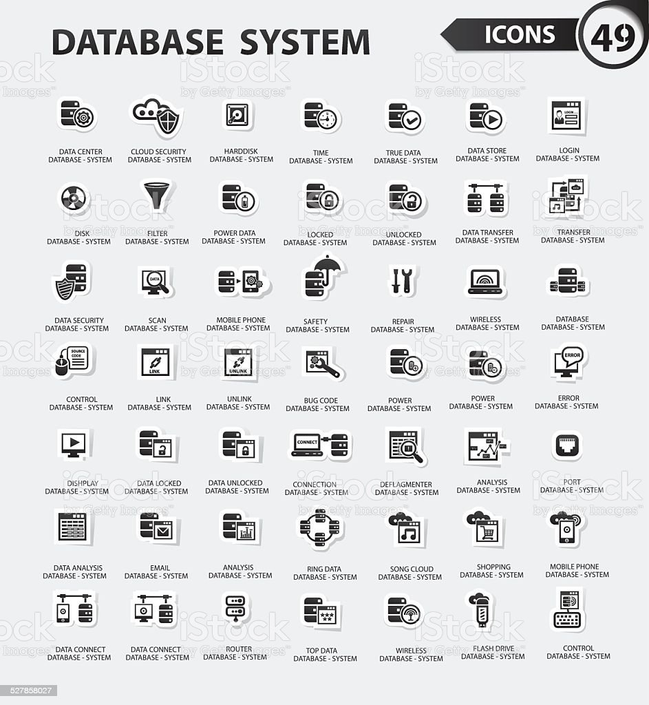 Database System Icon Setblack Versionclean Vector Stock