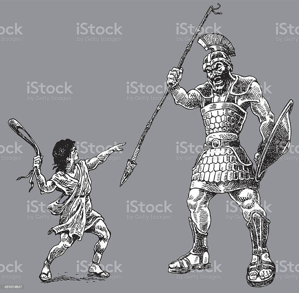 David And Goliath Bible Story Stock Illustration