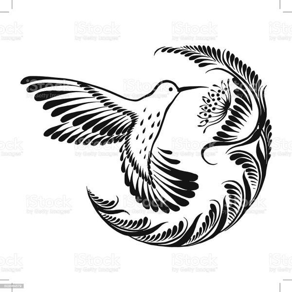 decorative silhouette hummingbird