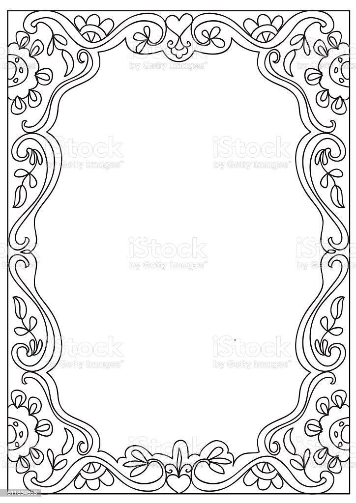 Decorative Square Coloring Page Frame Isolated On White