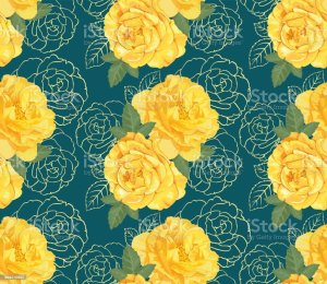 yellow rose drawing roses outline vector hand clip floral background illustrations decorative vectors illustration seamless