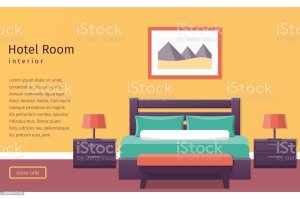 hotel background bed vector illustration bedroom clip banner interior illustrations furniture royalty flat shutterstock istockphoto vectors