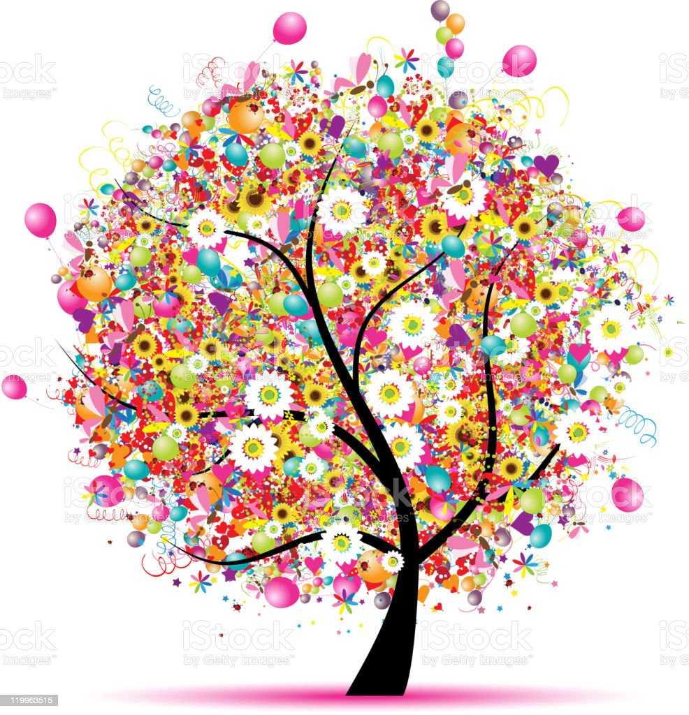 design of tree with flowers