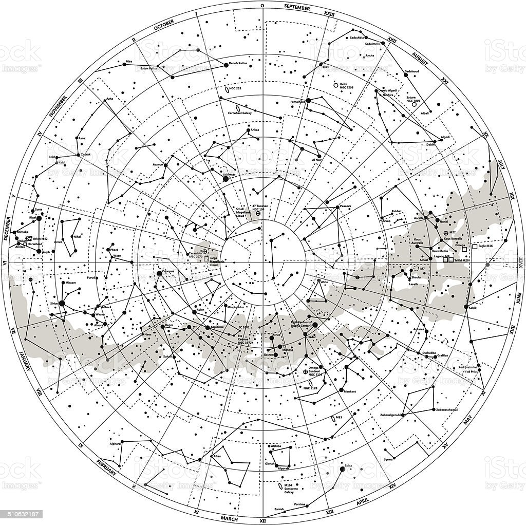 Detailed Sky Map Southern Hemisphere With Names Of Stars